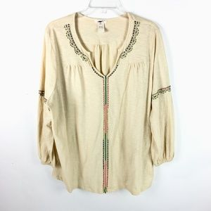 Sundance Women Embroidered Boho Summer Top Beaded